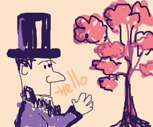 abrham lincoln say hello to a tree