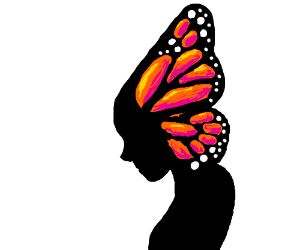 a woman with beautiful butterfly hair