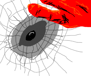 Hole with giant red hand instead of the wing