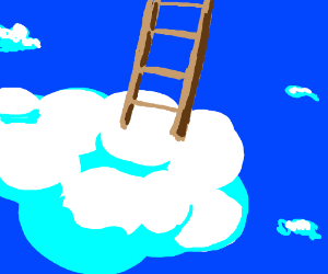 Ladder leading up from a cloud