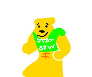 """""""stay SFW"""" with a weird green t-shirt"""