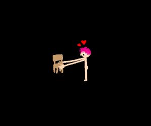 A guy w/ pink hair loves a chair