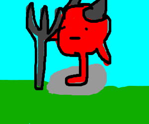 badly drawn(sorry demon with one leg on a rock