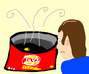 Person stares into a bag of Lay's potato chips
