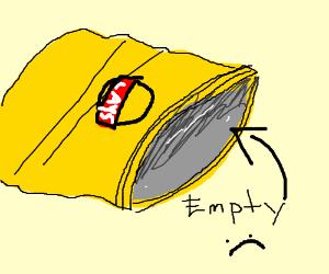 An enormous empty potato chip bag