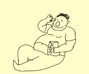Very fat man eating chips
