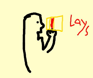 A guy eating lays