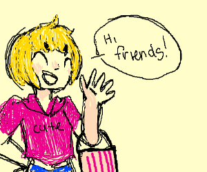 Girl With Short Blonde Hair Greets Friends Drawing By Charlotte