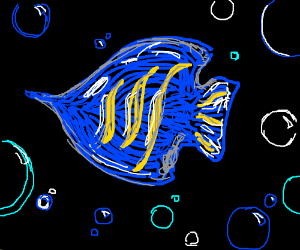 Blue and yellow fish (awesome drawing !)