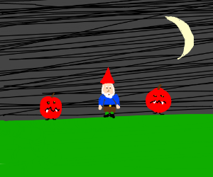 gnome is surrounded by evil apple trees