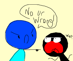 blue guy threatens black guy who is wrong