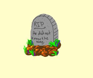 here lies dead meme (ugandan knuckles buried)