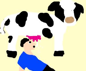 Guy Drinks Milk Strait from the Utter