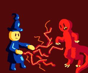 Wizard fighting dinosaur man