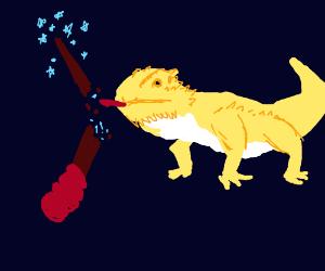 lizard destroys wizards wand.