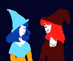2 happy witches are friends