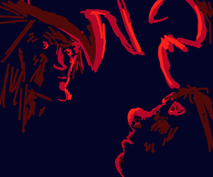 Two witches in a smiling staredown