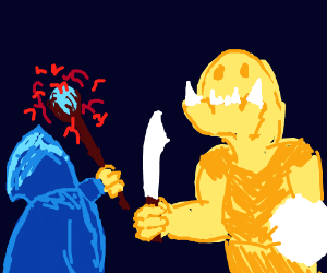 fight between magician and troll