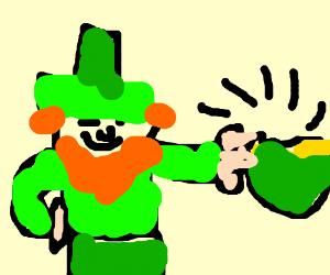Leprechaun shows off his pot of gold