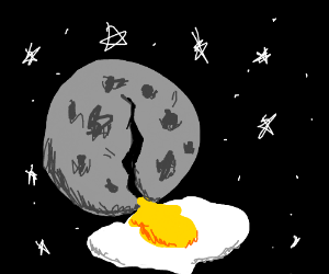 the moon does an egg and cracks