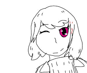 Face of ecstatic anime girl
