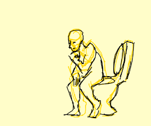 The thinker on the toilet