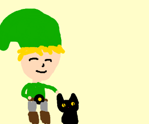 Link pets a kitty :3