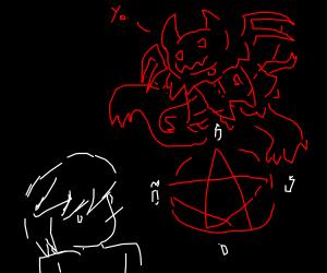 edgy teenager summons demon
