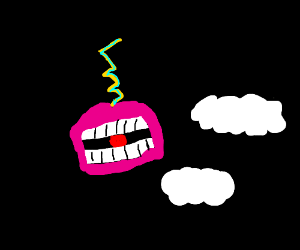 electric mouth with gumball and clouds