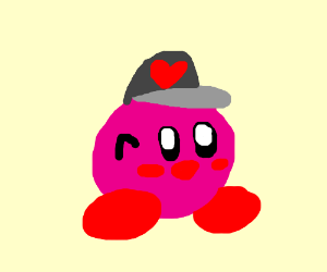 Kirby with a heart hat
