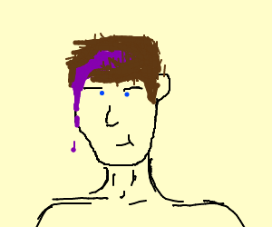Purple goo coming out of mans head