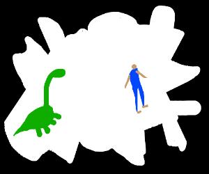 dino, person inside whit weird shape