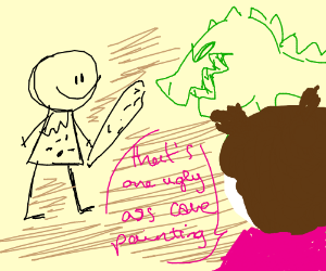 a dinosaur and a human on a cave painting