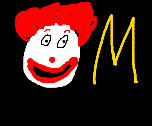 Clown Next to a Yellow M