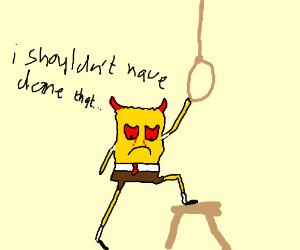 demon spongebob is depressed and has regrets