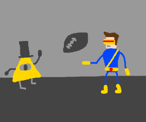 bill cipher throws football at cyclops