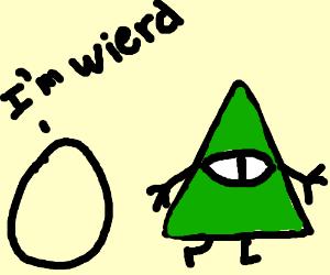 Illuminati walking away from wierd egg thing