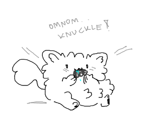 cat eating knuckle
