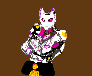 MENACING cat with a stand