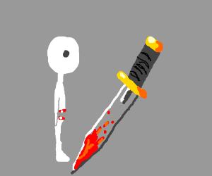 man cut in half with sword
