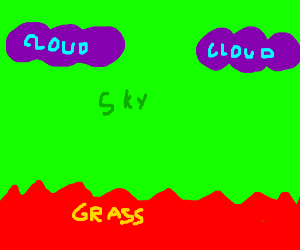 Green sky, purple clouds, red grass