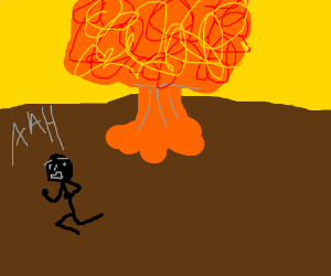 man running away from nuclear explosion