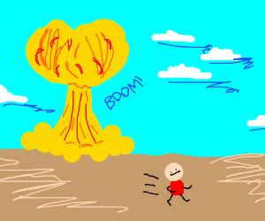 Man runs from mushroom cloud