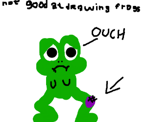 Oh no, little froggie hurts its a knee :(