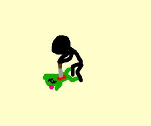 man killing frog