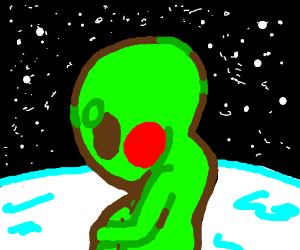 Cute chubby green alien