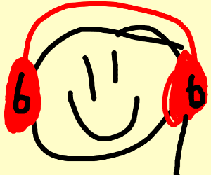 happy face listens to music