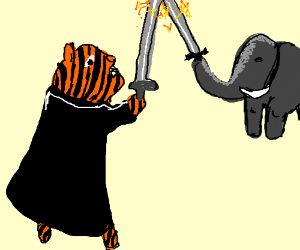 A tiger and an elephant duel with swords!