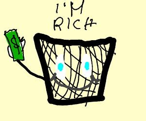 a greedy rich trashcan