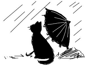 Cat with a umbrella